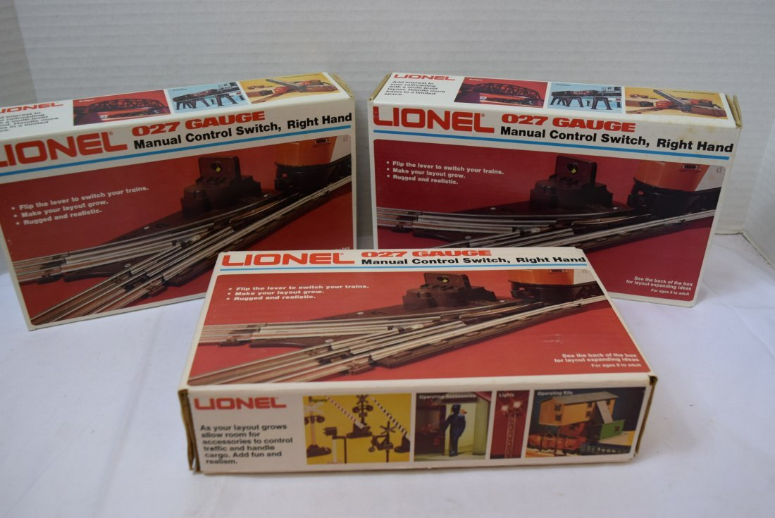 3 LIONEL MANUAL CONTROL SWITCHES; RIGHT HAND
