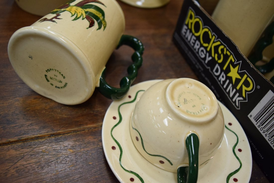 CALIFORNIA POPPYTRAIL GREEN ROOSTER MUGS; COFFEE C - 4