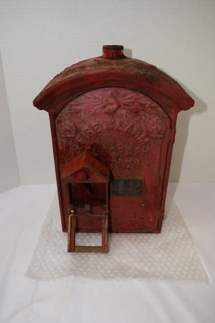 ANTIQUE CAST IRON RED FIRE BOX
