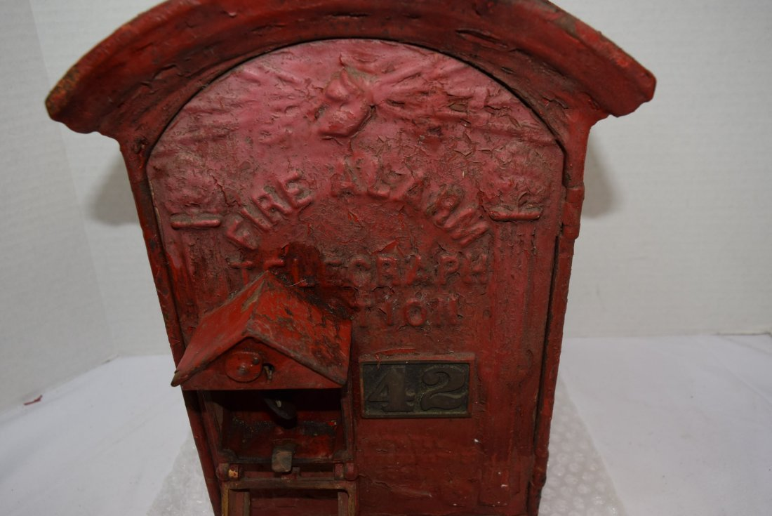 ANTIQUE CAST IRON RED FIRE BOX - 2