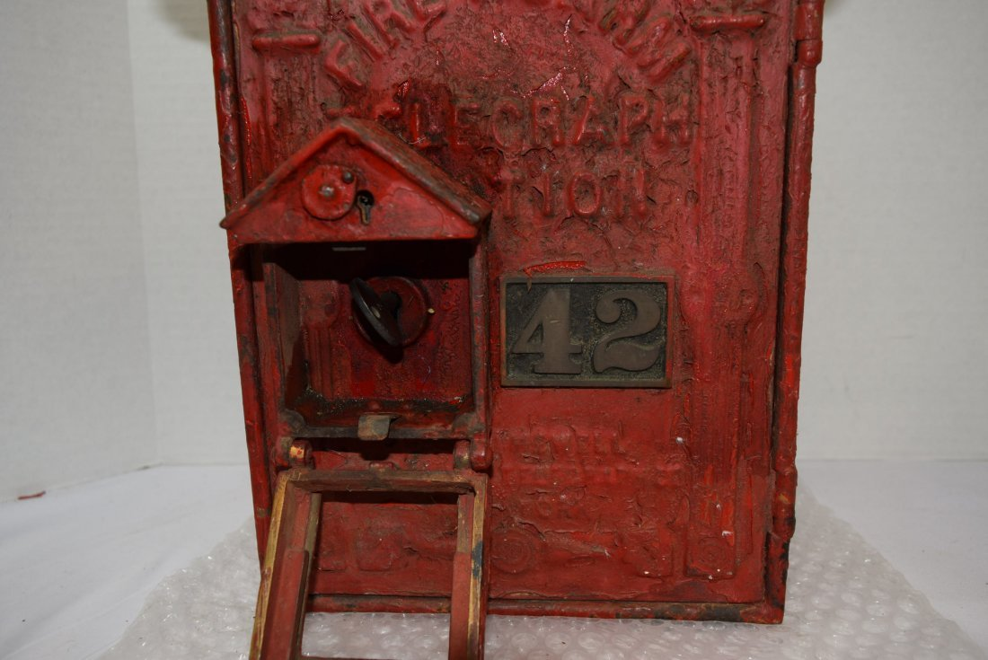 ANTIQUE CAST IRON RED FIRE BOX - 3