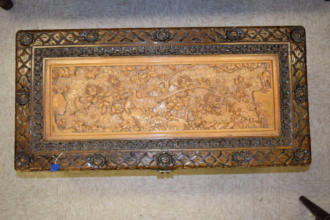 HIGHLY CARVED WOODEN ASIAN TWO-TONE TRUNK - 4