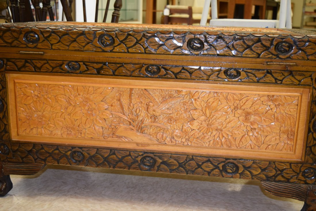 HIGHLY CARVED WOODEN ASIAN TWO-TONE TRUNK - 5
