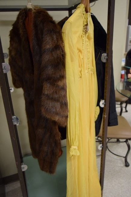 FUR STOL AND VINTAGE YELLOW DRESS
