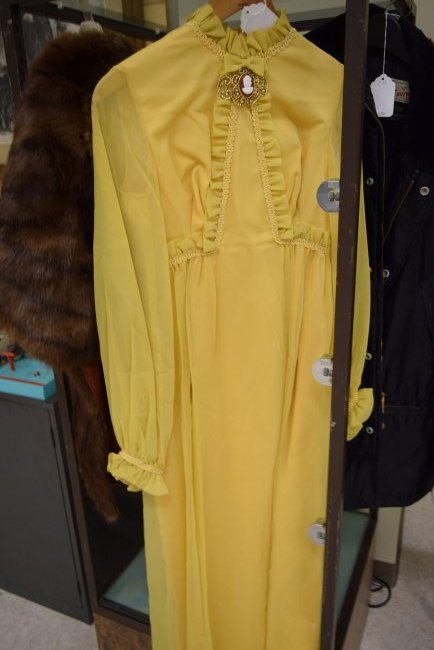 FUR STOL AND VINTAGE YELLOW DRESS - 3