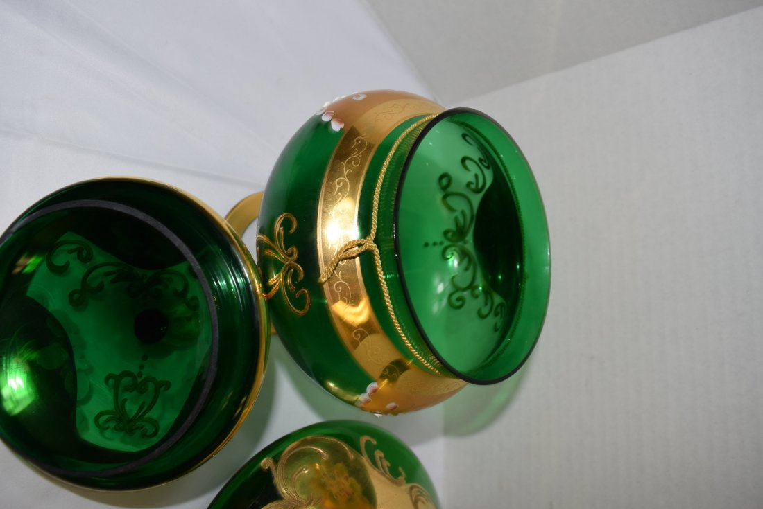 VICTORIAN SEYEI ROUND GREEN COVERED COMPOTE & DECA - 6