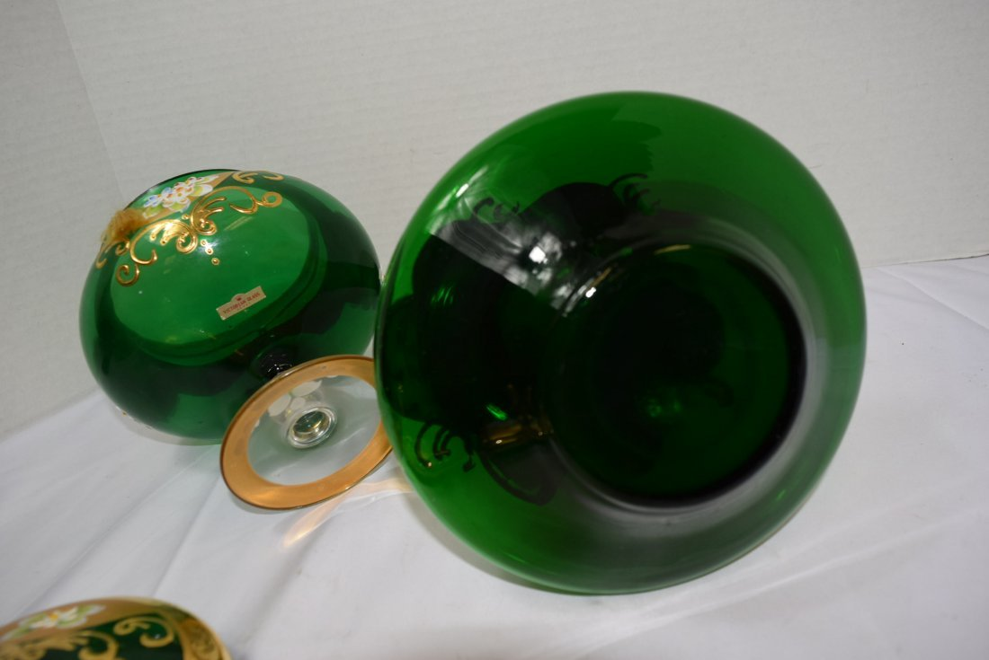 VICTORIAN SEYEI ROUND GREEN COVERED COMPOTE & DECA - 8