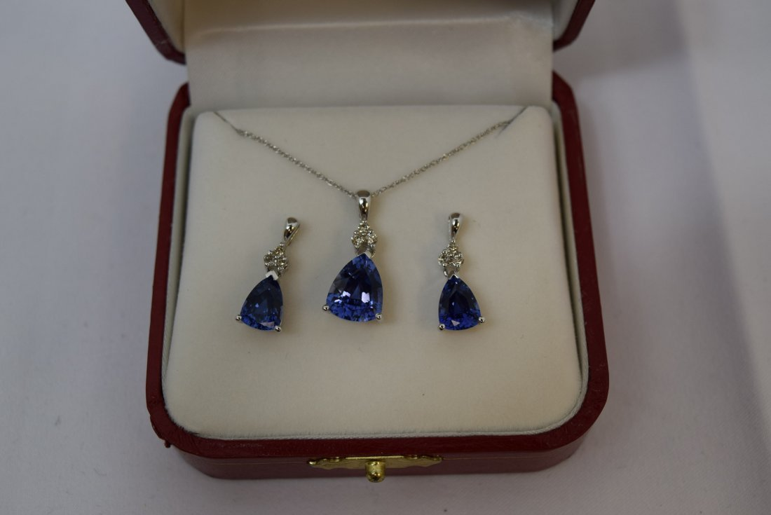 14K WHITE GOLD; DIAMOND; AND SAPPHIRE NECKLACE AND - 2