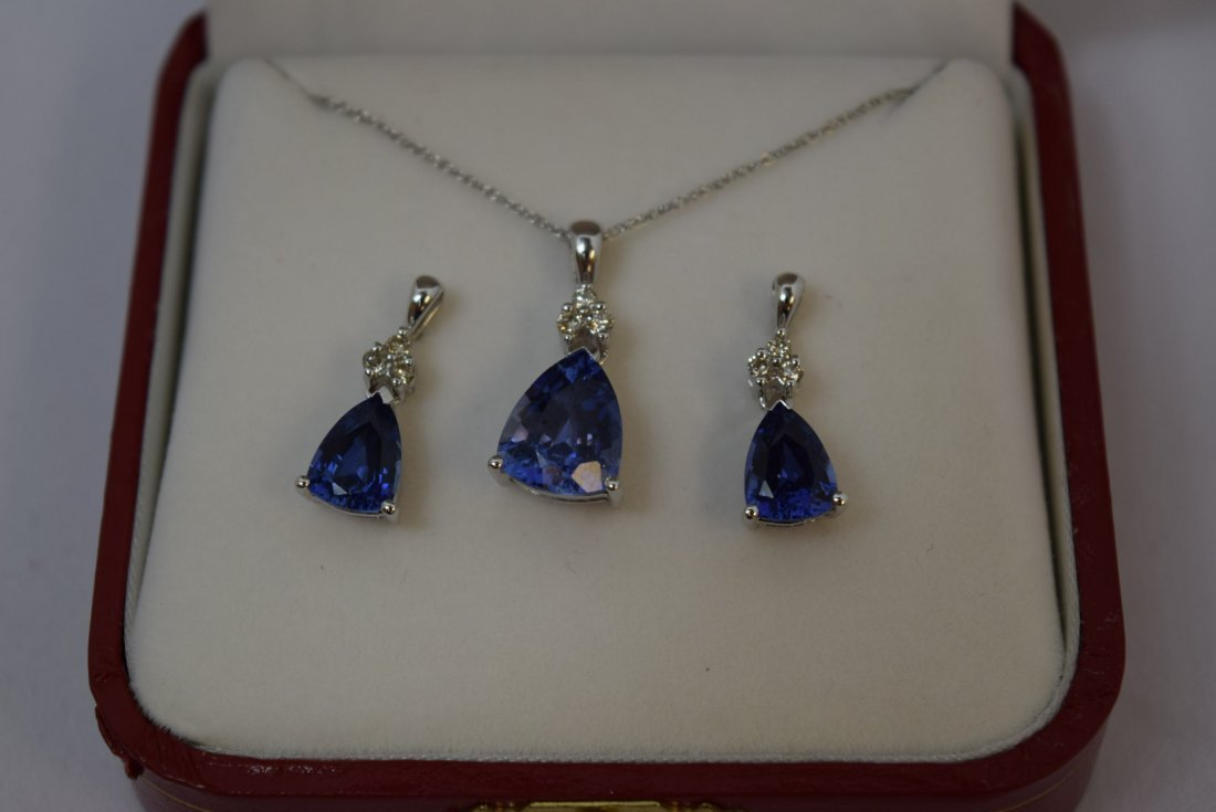 14K WHITE GOLD; DIAMOND; AND SAPPHIRE NECKLACE AND - 3