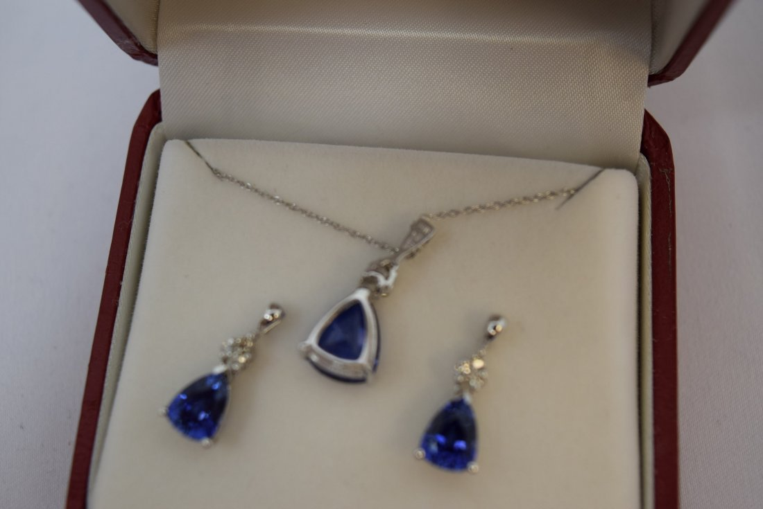 14K WHITE GOLD; DIAMOND; AND SAPPHIRE NECKLACE AND - 4