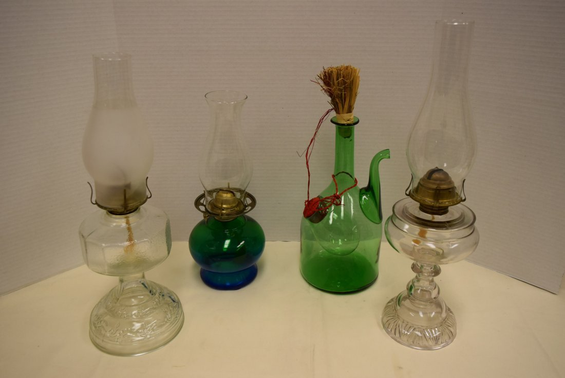 OIL LAMPS AND ITALIAN WINE DECANTER