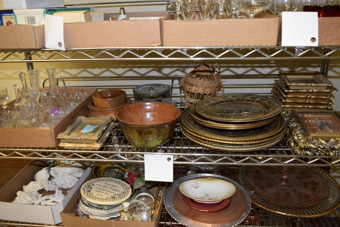 SHELF LOT OF GLASS WARE; PICTURES; POTTERY AND MOR