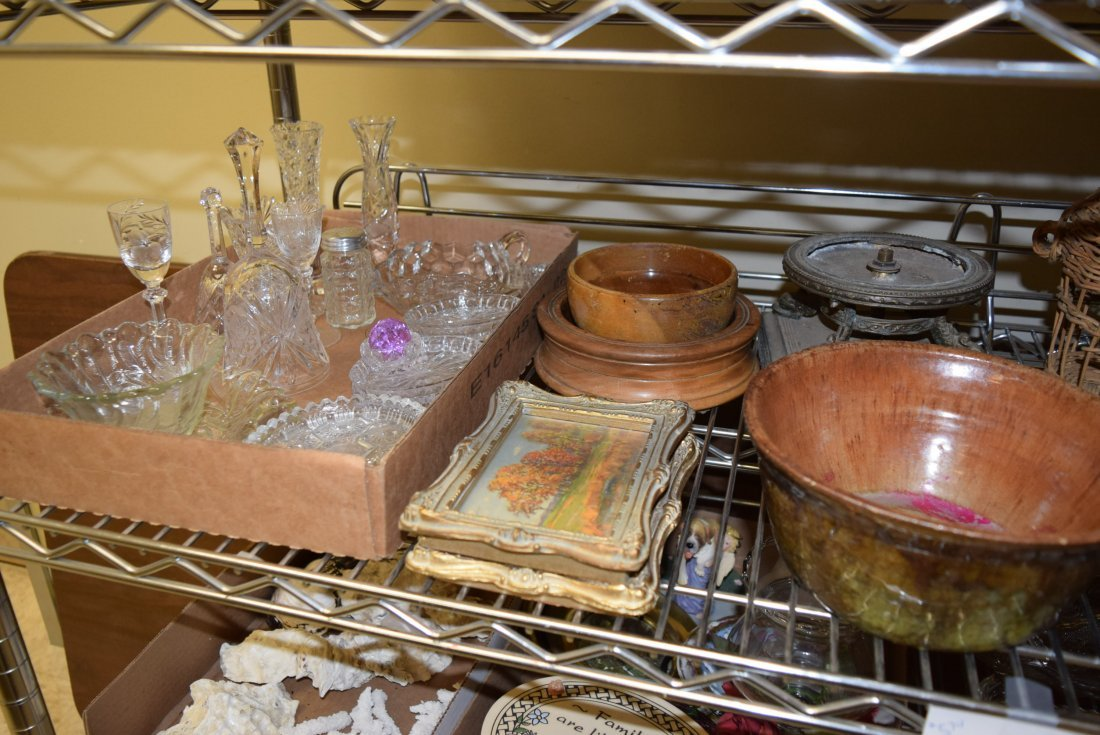 SHELF LOT OF GLASS WARE; PICTURES; POTTERY AND MOR - 2