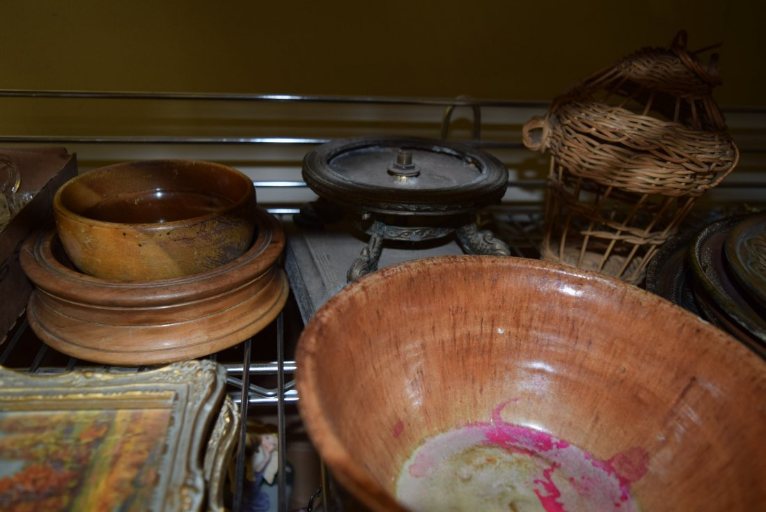 SHELF LOT OF GLASS WARE; PICTURES; POTTERY AND MOR - 4