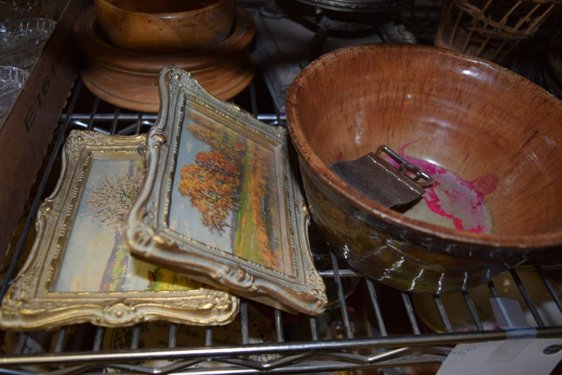 SHELF LOT OF GLASS WARE; PICTURES; POTTERY AND MOR - 5