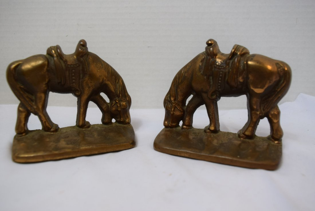 VINTAGE BRONZE HORSE BOOKENDS