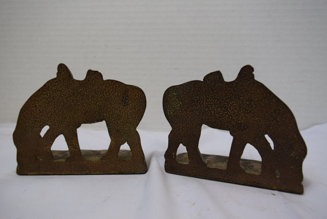 VINTAGE BRONZE HORSE BOOKENDS - 2