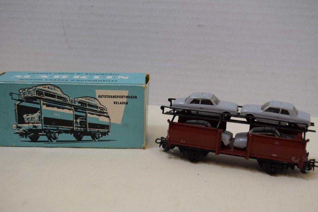 MARKLIN HO CAR TRANSPORTER WAGON WITH 4 CARS