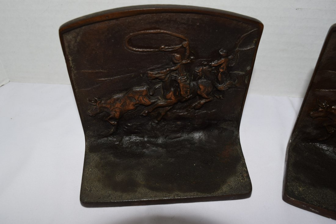 BRONZE BOOKENDS WITH COWBOYS ROPING A STEER - 4
