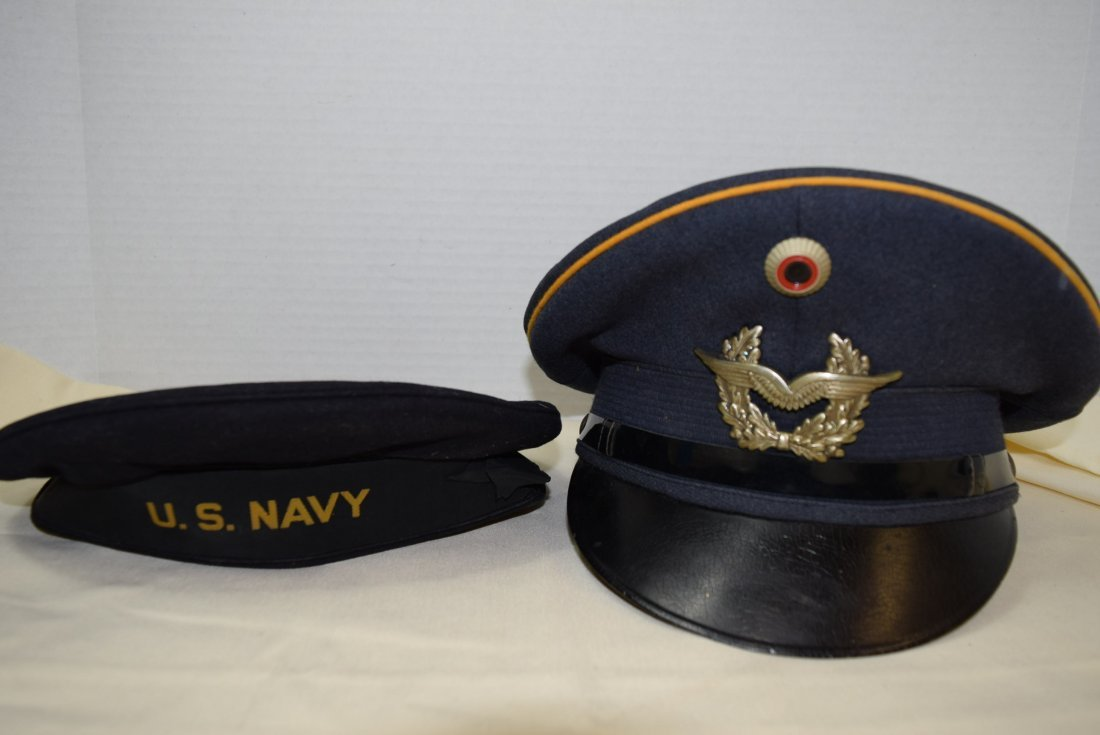 VINTAGE GERMAN AND AMERICAN MILITARY HATS