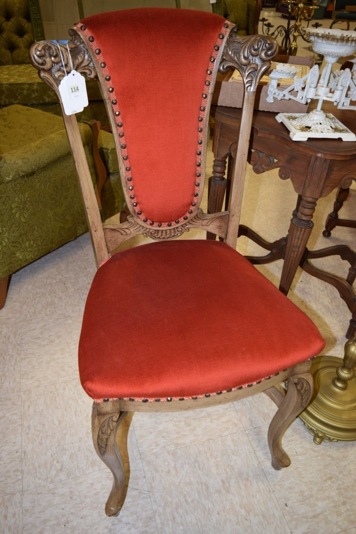TWIN VINTAGE WOOD CARVED UPHOLSTERED CHAIRS