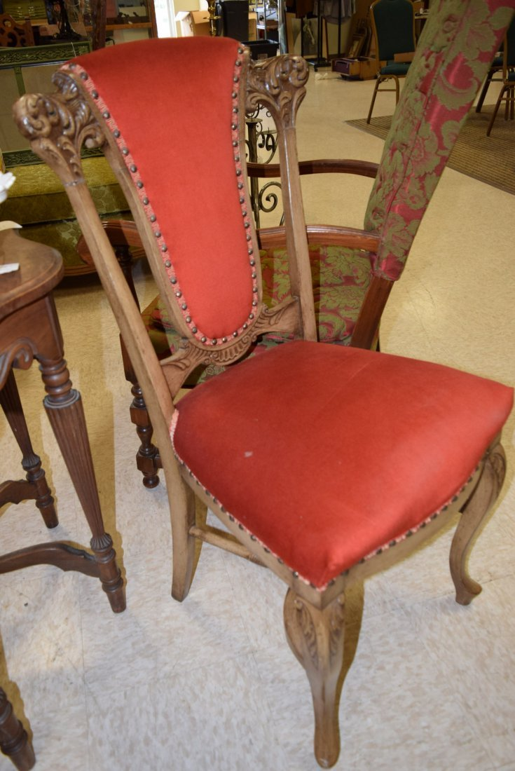 TWIN VINTAGE WOOD CARVED UPHOLSTERED CHAIRS - 2