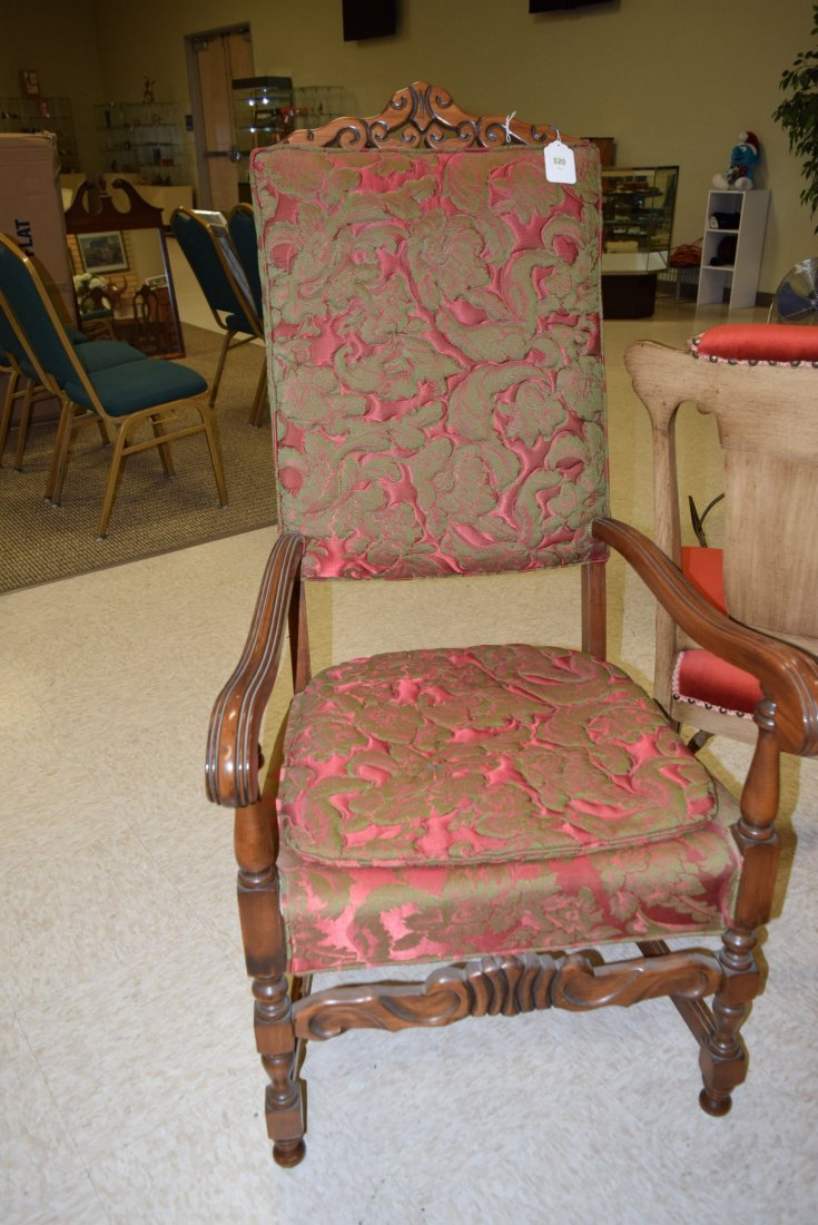 BEAUTIFUL ANTIQUE RED & GREEN CHAIR