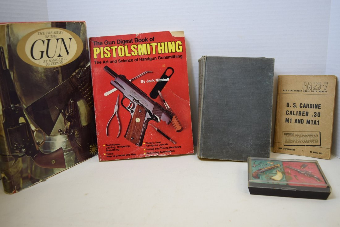 INFORMATIVE BOOKS ON GUNS AND 2 DECKS OF CARDS