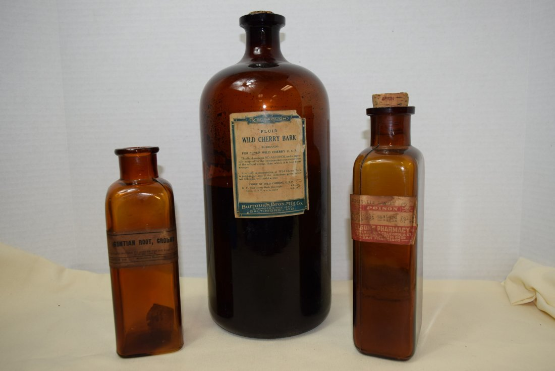 3 ANTIQUE AMBER APOTHECARY BOTTLES