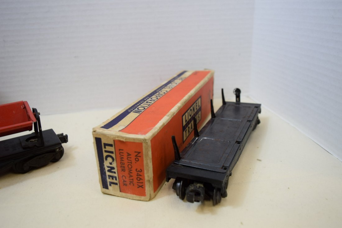 LIONEL TRAIN AUTOMATIC LUMBER CAR & OPERATING RED - 3