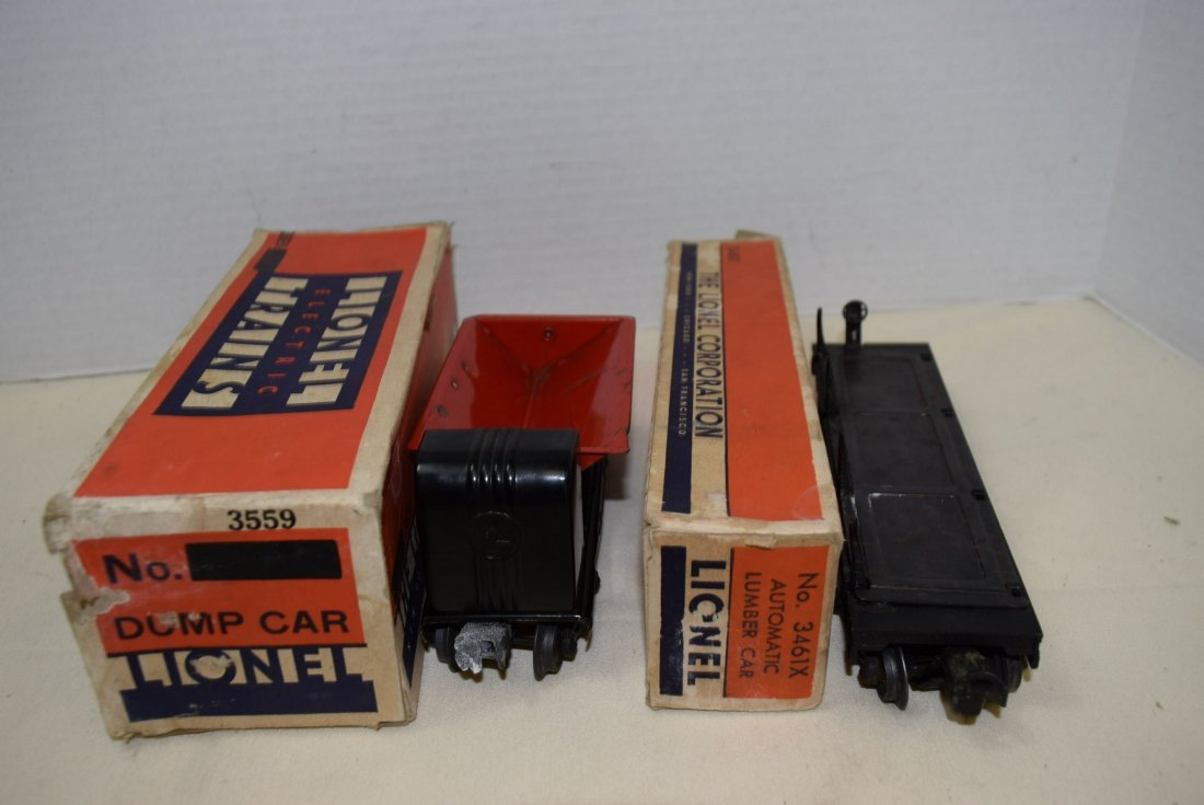 LIONEL TRAIN AUTOMATIC LUMBER CAR & OPERATING RED - 4