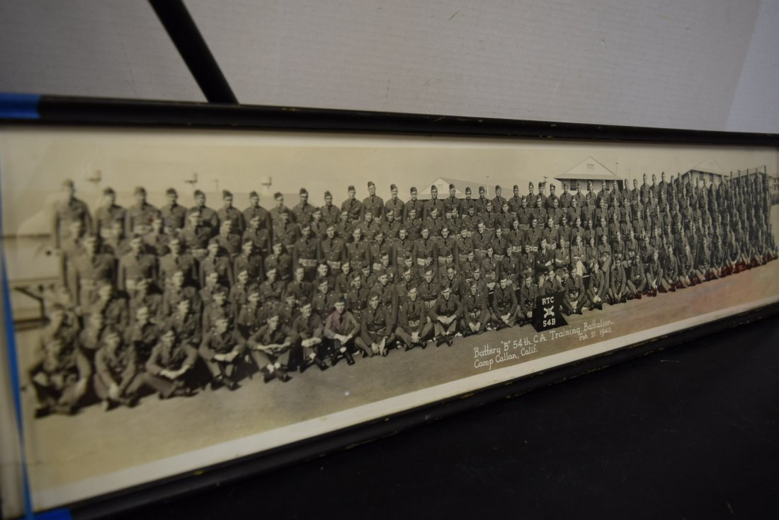 OLD HISTORIC FRAMED PHOTO OF BATTERY B 54TH TRAINI - 2
