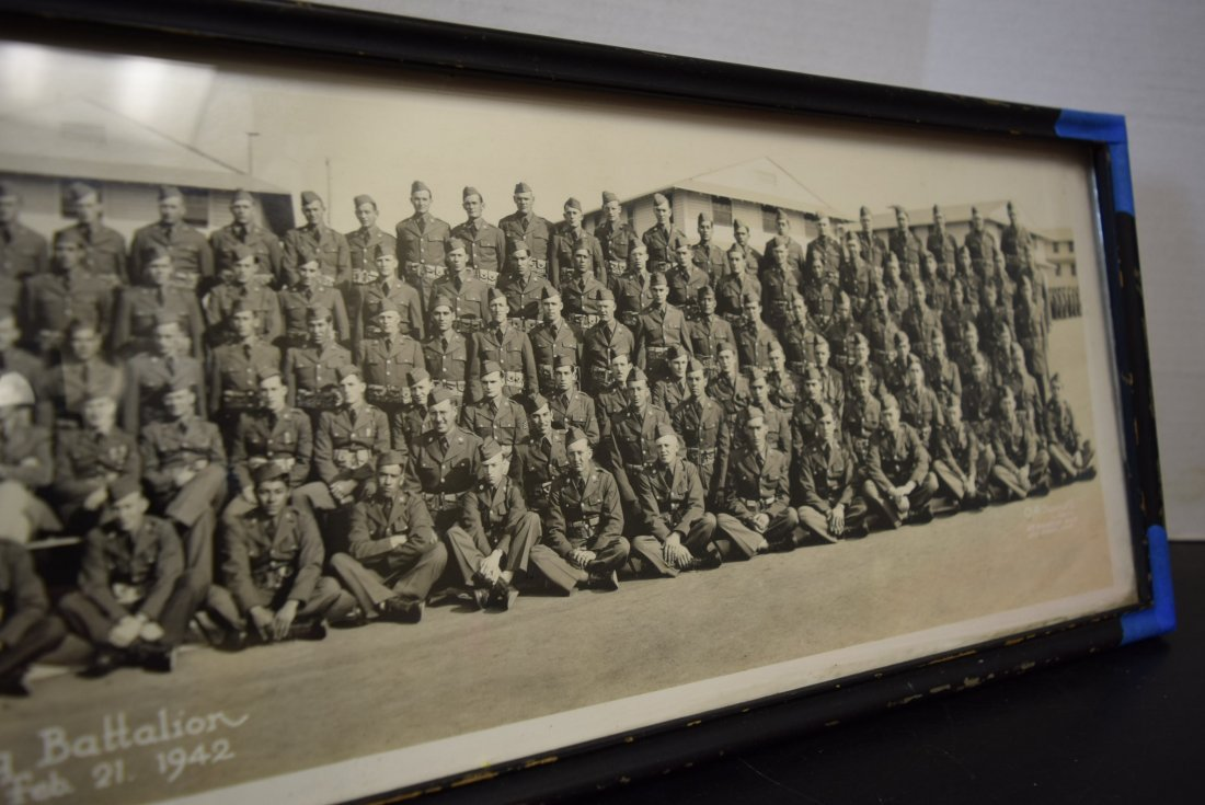 OLD HISTORIC FRAMED PHOTO OF BATTERY B 54TH TRAINI - 4