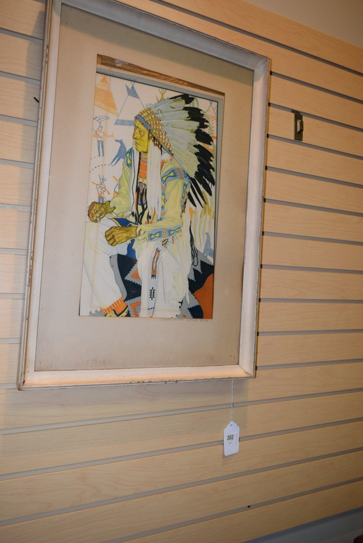 FRAMED PRINT OF CHIEF MIKE LITTLE DOG