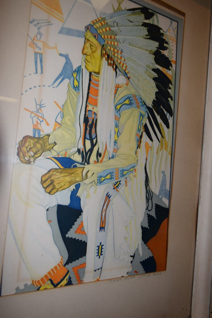 FRAMED PRINT OF CHIEF MIKE LITTLE DOG - 2