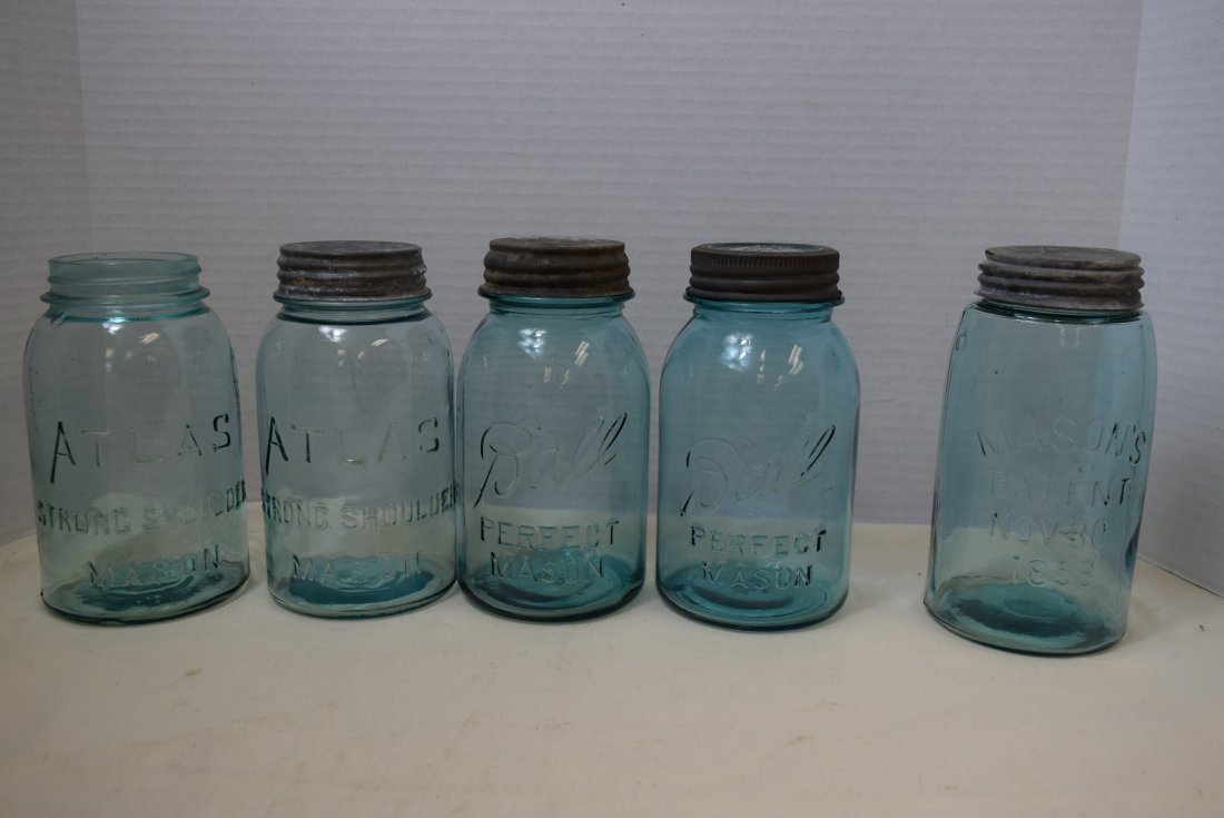 5 VINTAGE/ANTIQUE LIGHT BLUE CANNING JARS