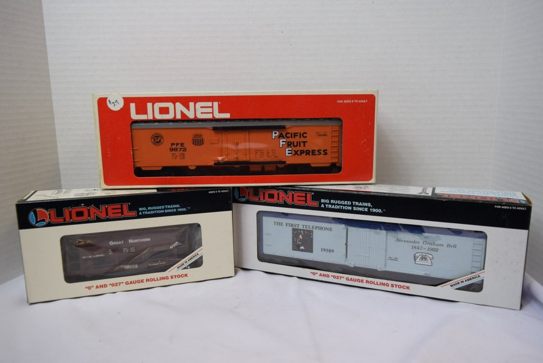 3 LIONEL ROLLING CARS NEW IN ORIGINAL BOXES