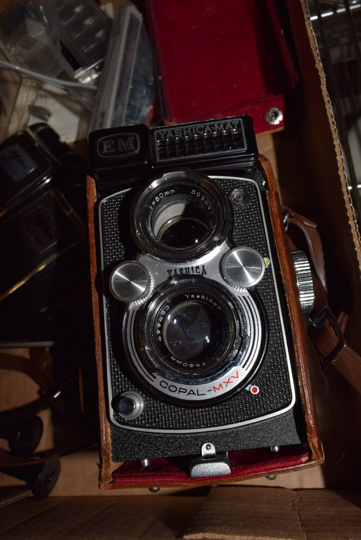 TWO VINTAGE CAMERAS - POLAROID AND VINTAGE YASHICA - 5
