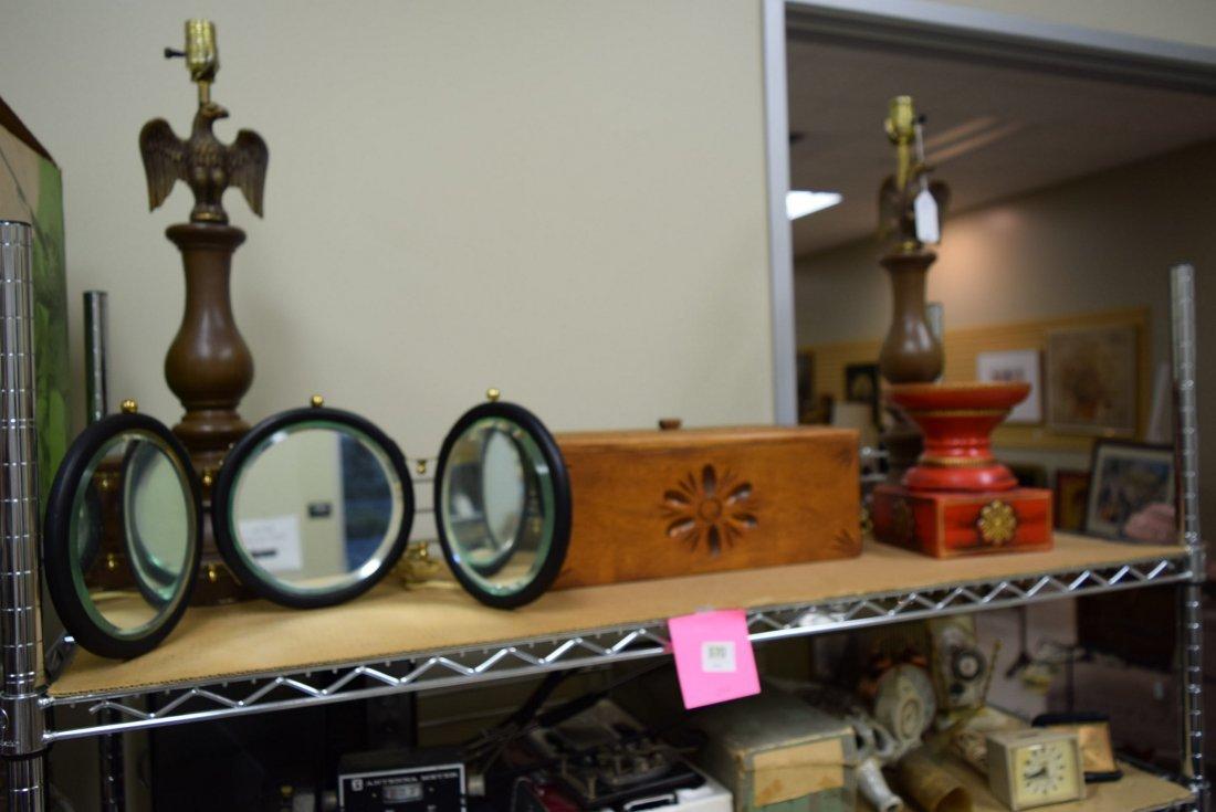 EAGLE LAMPS; VICTORIAN MIRRORS & ORNATE WOOD BOX