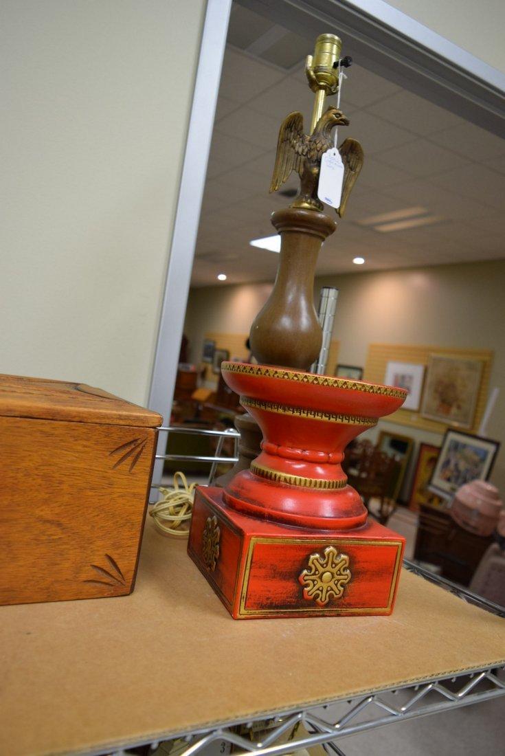 EAGLE LAMPS; VICTORIAN MIRRORS & ORNATE WOOD BOX - 3