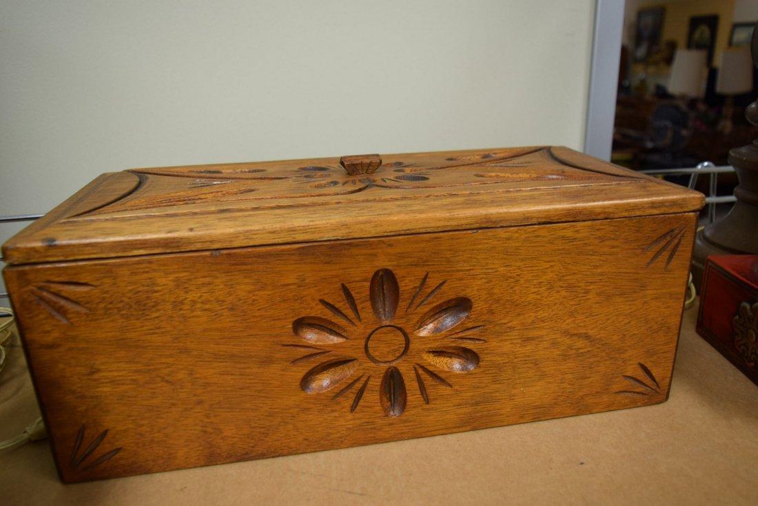 EAGLE LAMPS; VICTORIAN MIRRORS & ORNATE WOOD BOX - 4