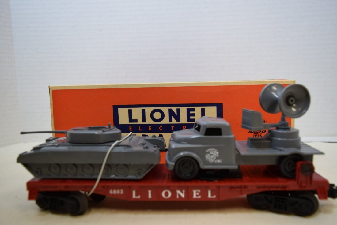 LIONEL FLATCAR WITH MILITARY UNITS 6803-IN BOX - 2