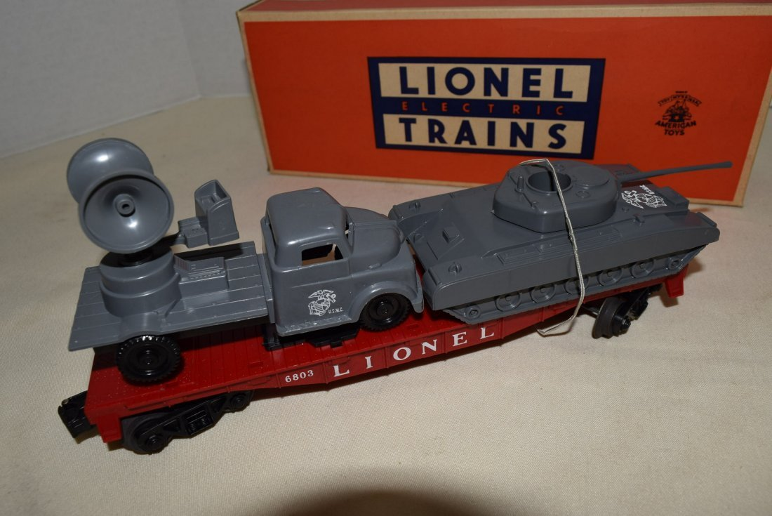 LIONEL FLATCAR WITH MILITARY UNITS 6803-IN BOX - 3