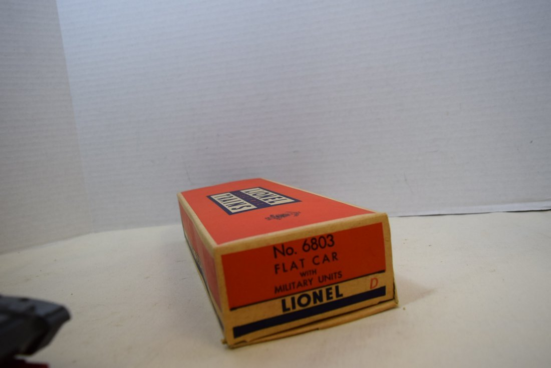 LIONEL FLATCAR WITH MILITARY UNITS 6803-IN BOX - 7