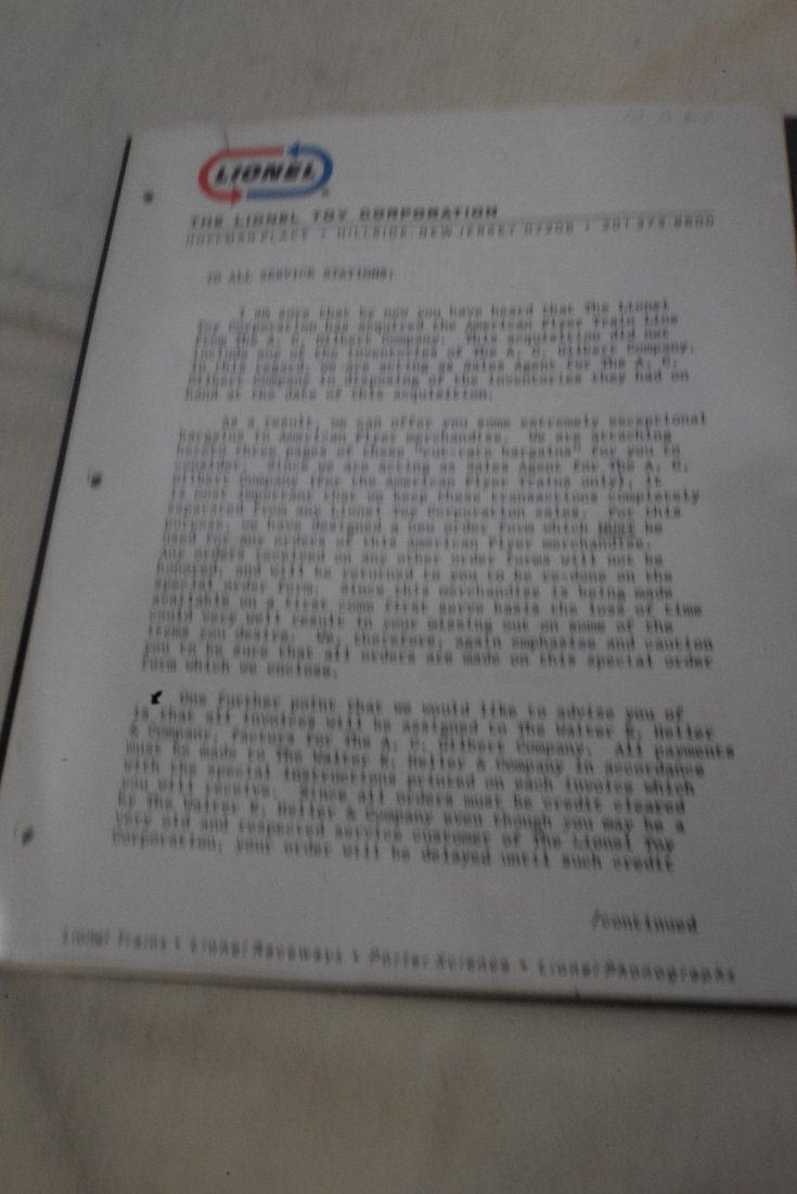RARE 1967 LIONEL TRANSFER OF OWNERSHIP LETTER