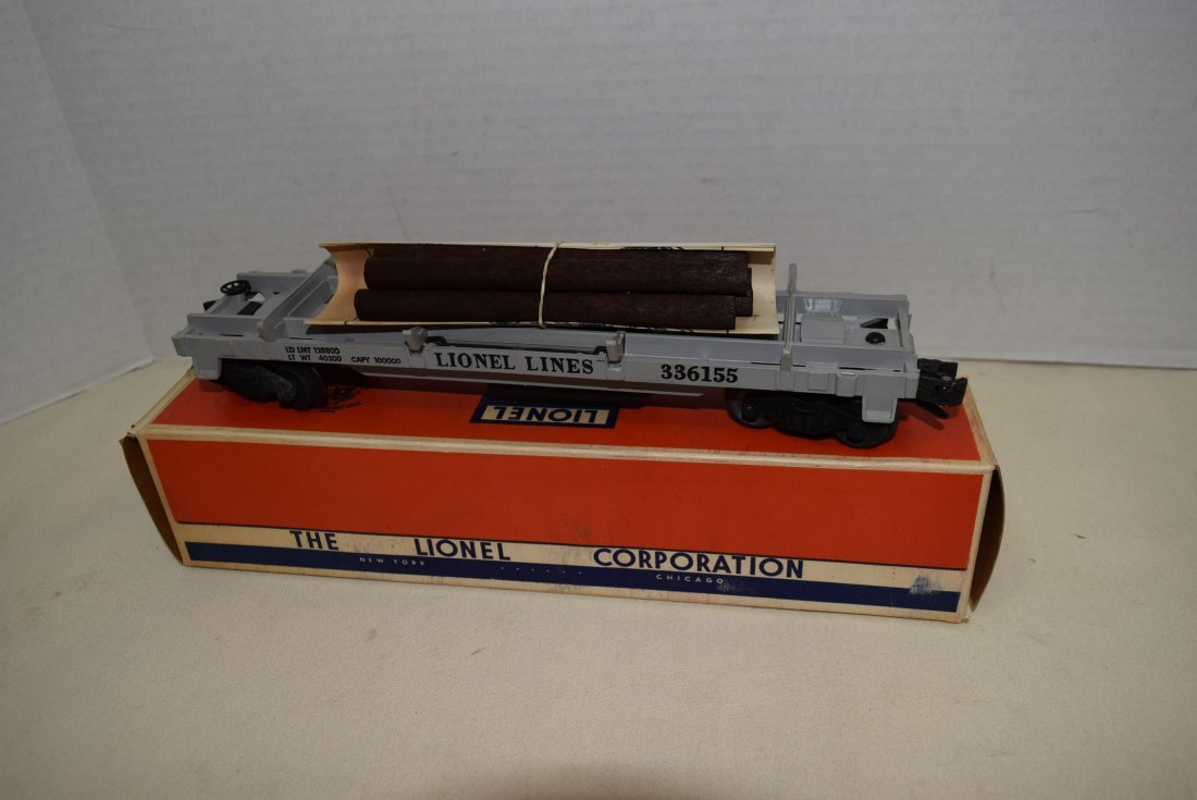 1955 LIONEL OPERATING LUMBER CAR 3361X NIB