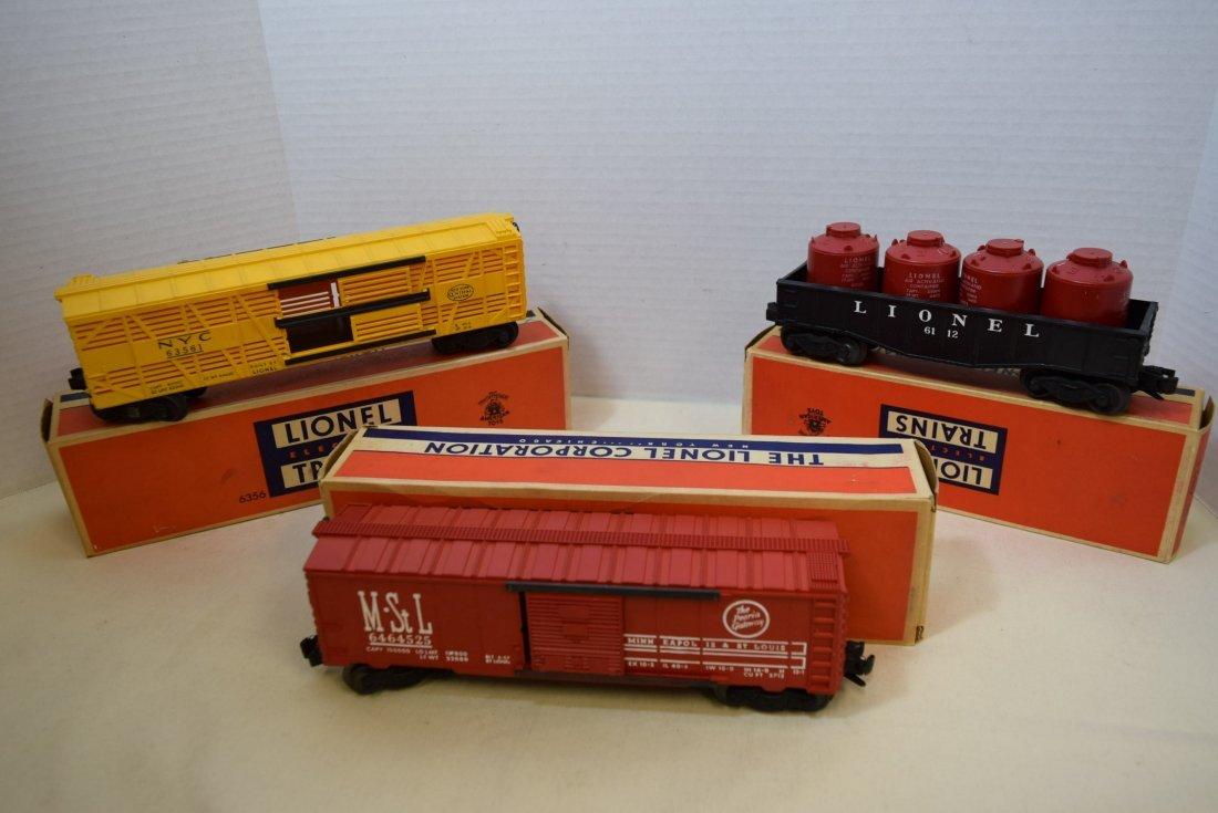 LIONEL BOXCAR-CANISTER CAR-STOCK CAR-ORIGINAL BOXE