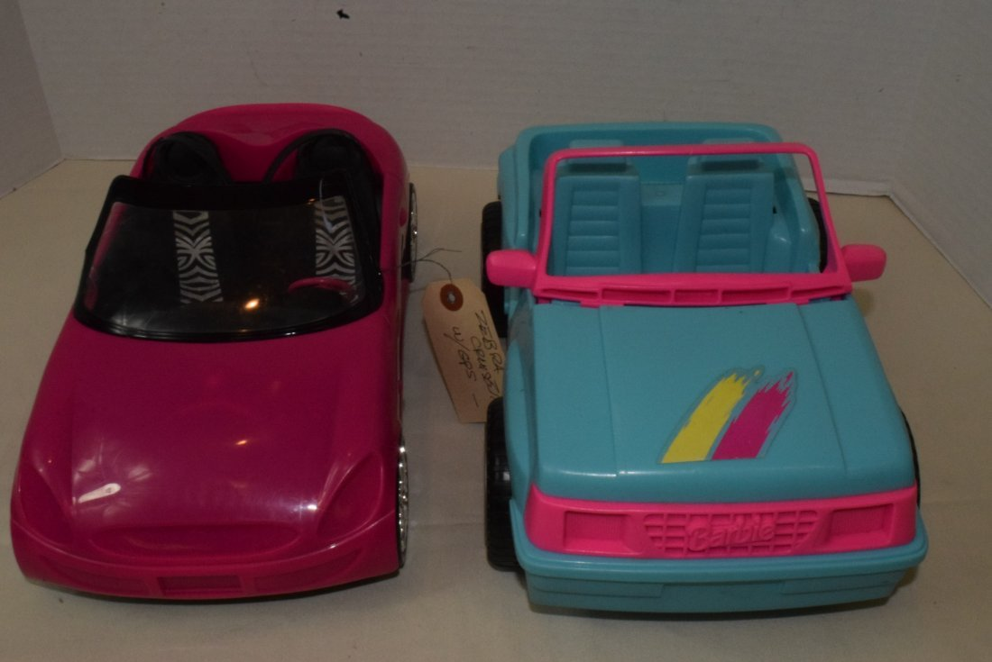 2 BARBIE CARS-SURFER JEEP & ZEBRA CRUISER WITH GPS