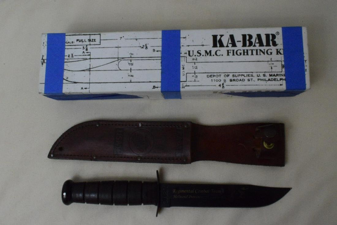 USMC KA-BAR KNIFE WITH LEATHER SHEATH -ORIGINAL BO