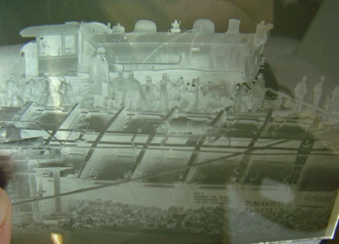 ANTIQUE GLASS SLIDE NEGATIVES OF TRAIN WRECK IN IO - 2